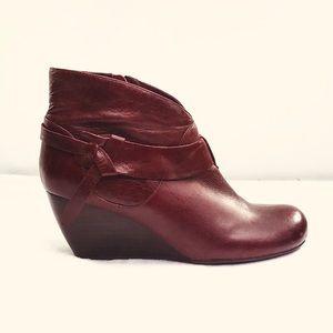 Miz Mooz Leather Estelle Stacked Heel Wedge Bootie